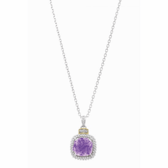 Silver/18kt Gold Popcorn Amethyst & Diamonds Pendant on 18 Inch Chain