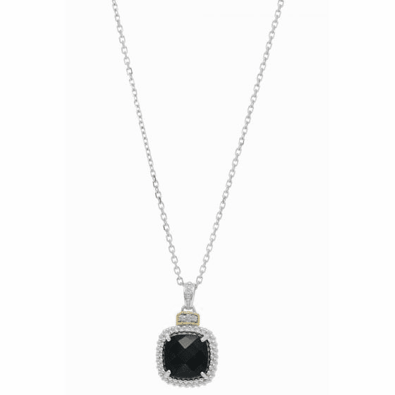 Silver/18kt Gold Popcorn Black Onyx & Diamond Pendant on 18 Inch Chain
