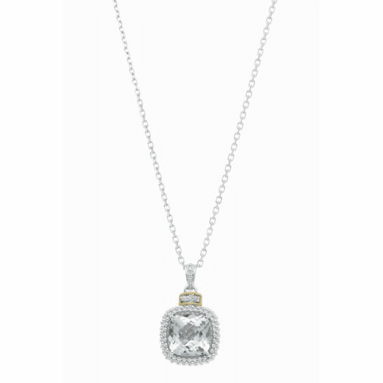 Silver/18kt Gold Popcorn Blue Topaz & Diamond Pendant on 18 Inch Chain
