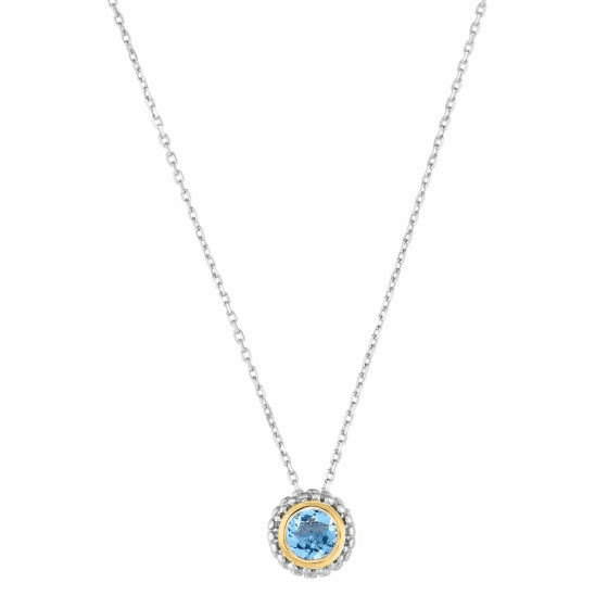 Silver/18kt Gold Popcorn Blue Topaz Pendant on Adjustable Chain