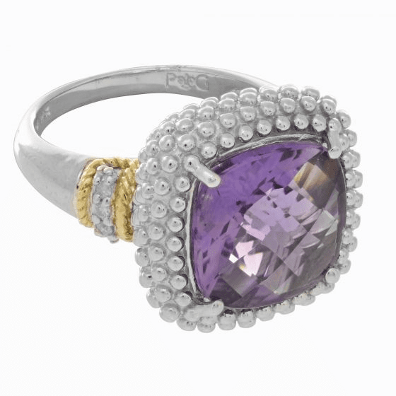 Silver/18kt Gold Popcorn Large Square Cushion Amethyst/Diamonds Ring
