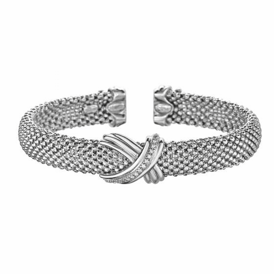 Silver & 18kt Gold Popcorn Mesh Sculpted X Cuff Bracelet with Diamonds