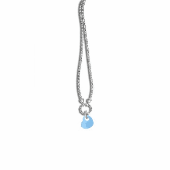 Silver/18kt Gold Popcorn Necklace with Heart Milky Aquamarine Pendant