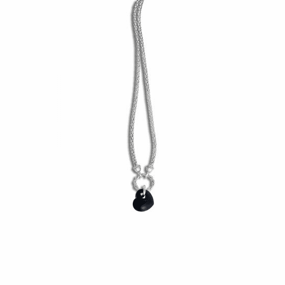 Silver/18kt Gold Popcorn Necklace with Heart-ShapedBlack Onyx Pendant