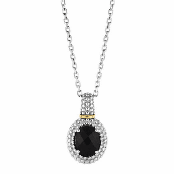 Silver/18kt Gold Popcorn Oval Pendant with Black Onyx on 18 Inch Chain