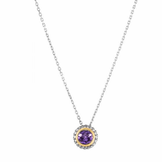 Silver/18kt Gold Popcorn Pendant on Adjustable Chain with Amethyst