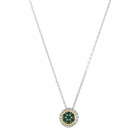 Silver/18kt Gold Popcorn Pendant on Adjustable Chain with Emerald
