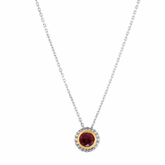 Silver/18kt Gold Popcorn Pendant on Adjustable Chain with Garnet