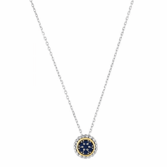 Silver/18kt Gold Popcorn Pendant on Adjustable Chain with Sapphire