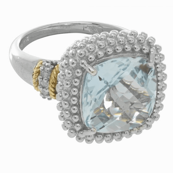 Silver/18kt Gold Popcorn Ring with Square Cushion Blue Topaz & Diamond
