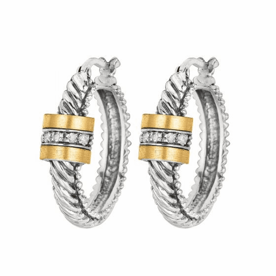 Silver & 18kt Gold Rhodium Finish Italian Cable Hoop Earrings