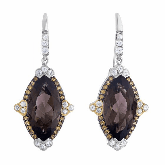 Silver/18Kt Gold Smokey Quartz, Citrine & White Sapphire Drop Earrings