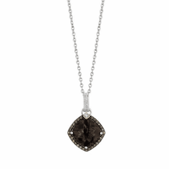 Silver/18kt Gold Smokey Quartz & Diamond Drop Pendant on 18 Inch Chain