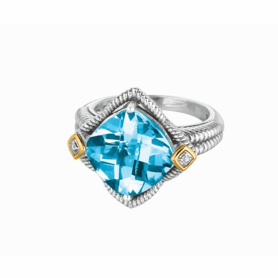 Silver & 18kt Gold Square Gem Candy Ring with Blue Topaz & Diamonds