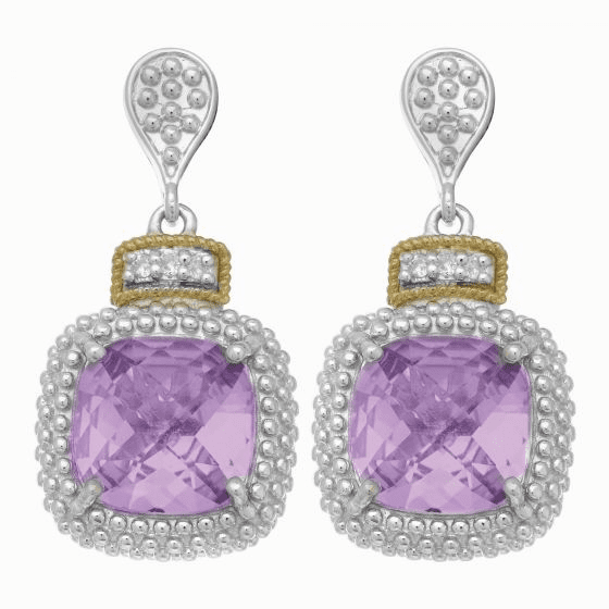 Silver/18kt Gold Square Popcorn Drop Earrings, Diamonds & Amethyst
