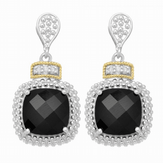 Silver/18kt Gold Square Popcorn Drop Earrings, Diamonds & Black Onyx