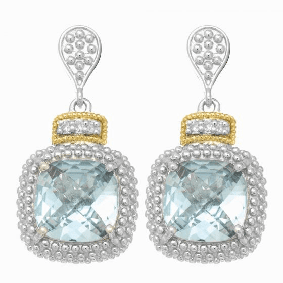 Silver/18kt Gold Square Popcorn Drop Earrings, Diamonds & Blue Topaz