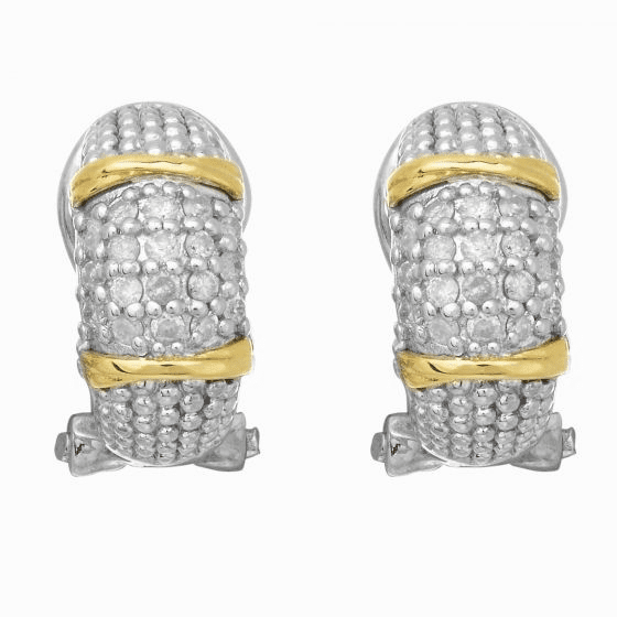 Silver & 18kt Gold Textured Curve Popcorn Post Earrings & Diamonds