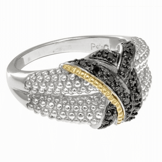 Silver & 18kt Gold Textured Graduated Popcorn Ring with Black Diamonds