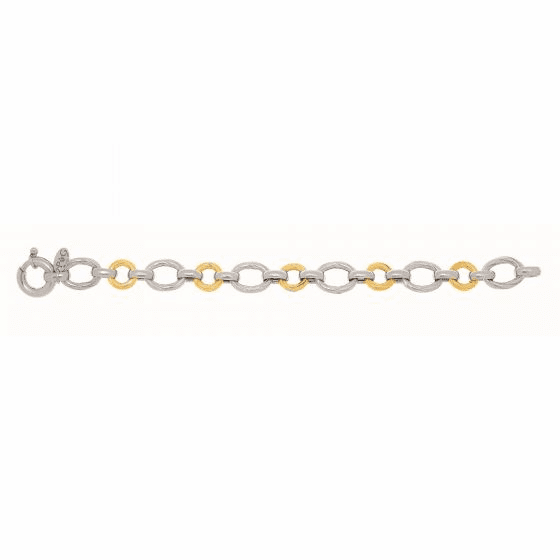 Silver/18kt Gold Textured Italian Cable Round & Oval Links Bracelet