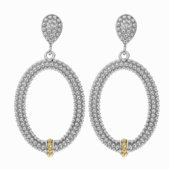 Silver/18kt Gold Textured Oval Popcorn Drop Earrings