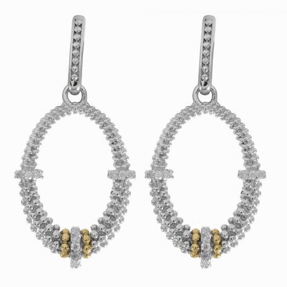Silver & 18kt Gold Textured Oval Popcorn Drop Earrings & Diamonds