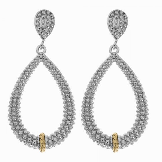 Silver/18kt Gold Textured Teardrop Popcorn Earrings