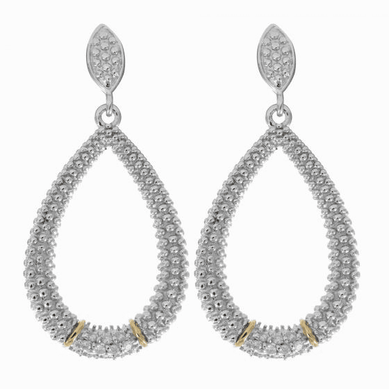 Silver/18kt Gold Textured Teardrop Popcorn Earrings & Diamonds