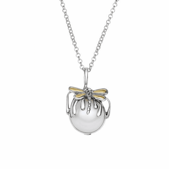 Silver/18kt Gold White Pearl Dragonfly Drop Pendant On 18 Inch Chain