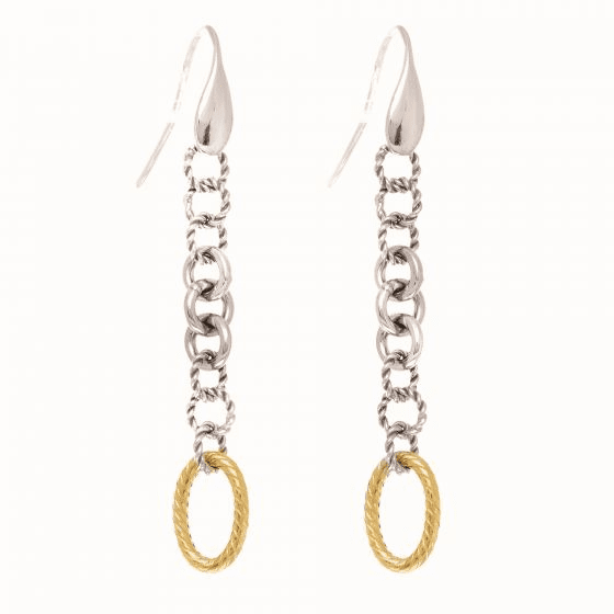 Silver/18kt Yellow Gold Italian Cable Drop Earrings with Wire Clasp