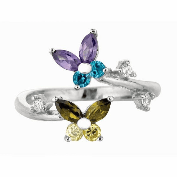 Silver 2-Flower Top By Pass Like Toe Ring with White/Purple/Blue CZ