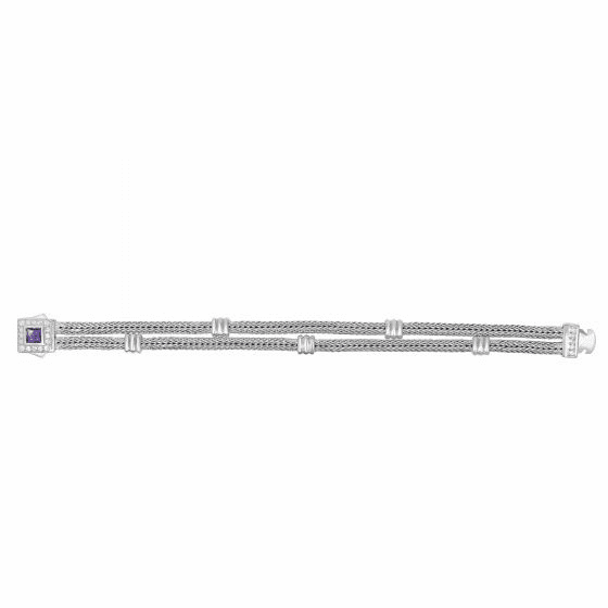 Silver 2-strand Woven Bracelet with Cushion Amethyst & White Sapphire
