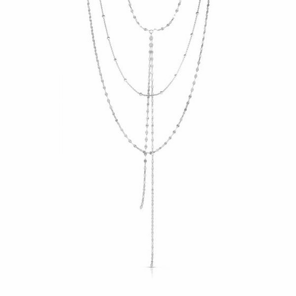 "Silver 20"" with Rhodium Diamond Cut Length Necklace with Lobster Clasp"