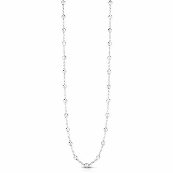 "Silver 24"" with Rhodium Finish Necklace with Lobster Clasp - AGRC2931"