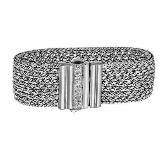 Silver 25mm Large Basket Weave Woven Bracelet with White Sapphires