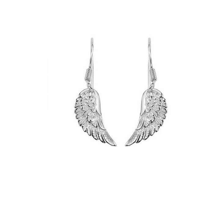 Silver 27X7mm Shiny/Feather Textured Fancy Wing Drop Earring