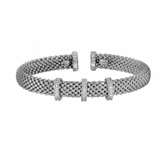 Silver 3-stationed Popcorn Bracelet with Diamonds