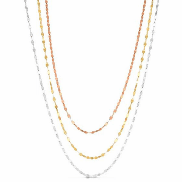 "Silver 36"" Rose + Yellow/Rhodium Diamond Cut Necklace w/Lobster Clasp"