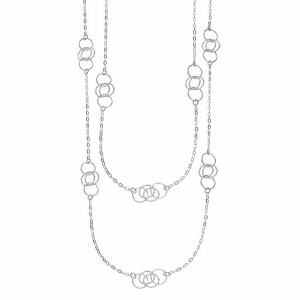 "Silver 36"" with Rhodium Shiny Diamond Cut Fancy Long Length Necklace."