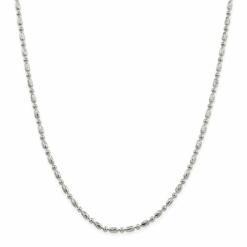 Silver 3mm Polished Round And Textured Oval Bead Anklet Qfc167-10