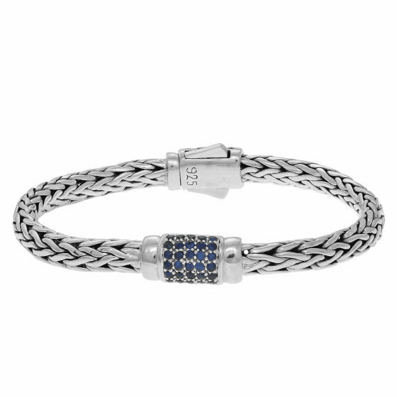 Silver 4x6mm Woven Bracelet with Blue Sapphire