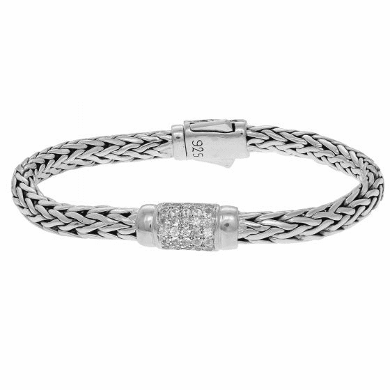 Silver 4x6mm Woven Bracelet with White Sapphire