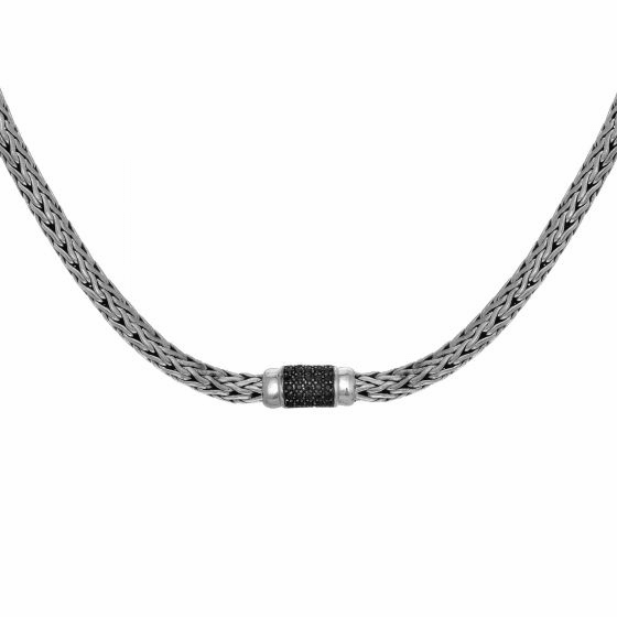 Silver 4x6mm Woven Necklace Black Sapphire