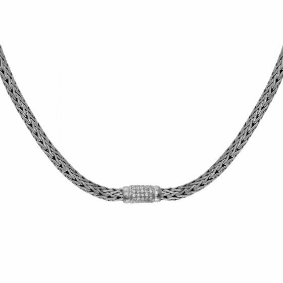 Silver 4x6mm Woven Necklace with White Sapphire