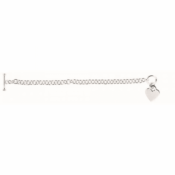 """Silver 7.25"""" Rhodium 6mm Shiny Round Cable Chain Bracelet/Heart Charm"""