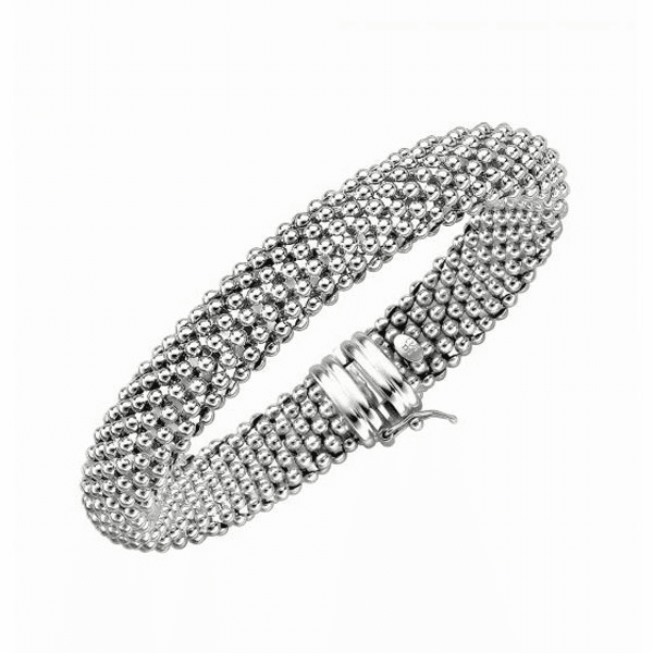"""Silver 7.5"""" 18mm Shiny Mesh Type Bracelet with Box Catch Clasp"""