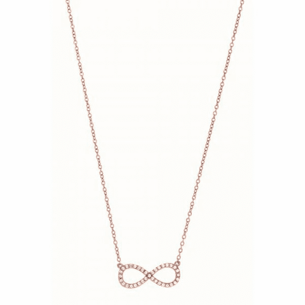 """Silver 7"""" Rose Shiny Cable Chain Necklace Infinity Pendant & White CZ"""