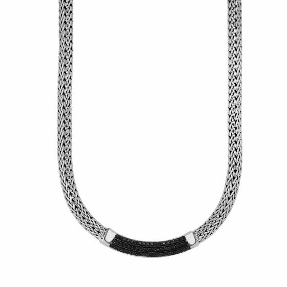 Silver 8mm Shiny Woven Necklace Black Sapphire