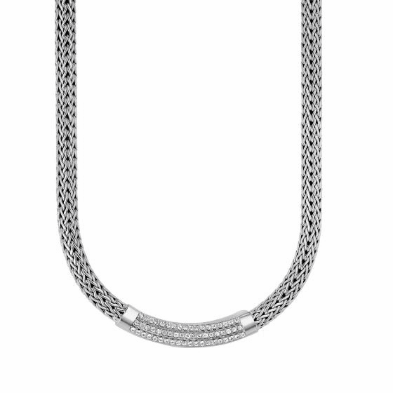 Silver 8mm Woven Necklace with White Sapphire