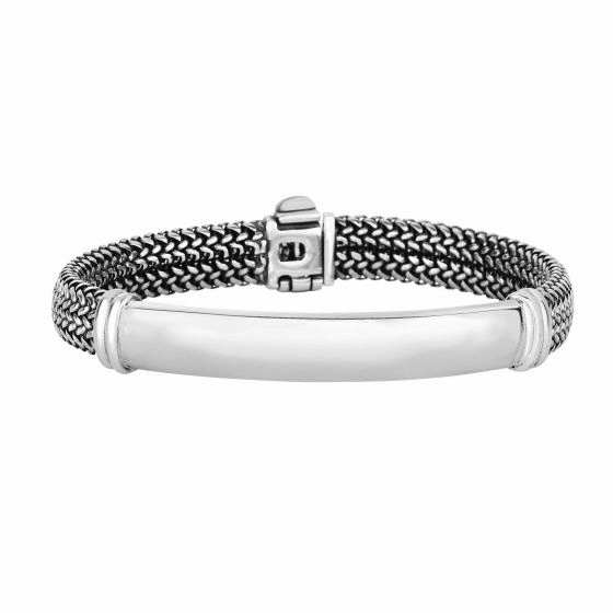 Silver 9mm Tuscan Woven ID style Bracelet